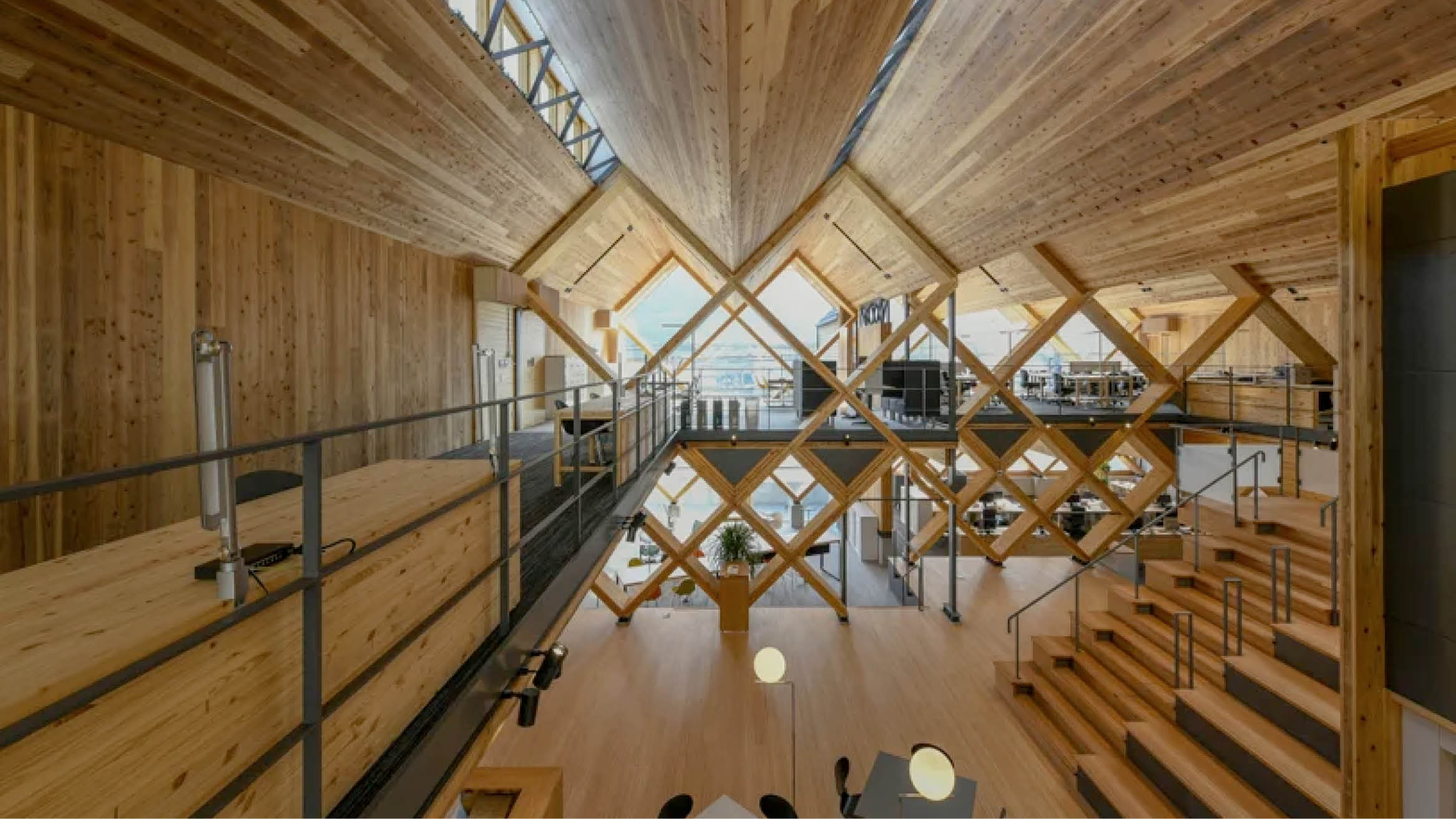 """Featured image for """"NKS architects uses criss-crossing laminated timber to design an office in Japan"""""""